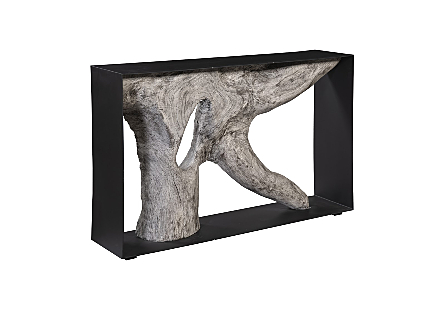 Chamcha Wood Console Table Gray Stone, Iron Frame