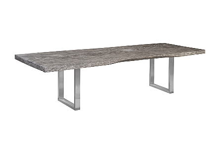 Origins Dining Table, Straight Edge, Gray Stone Brushed Stainless Steel Legs
