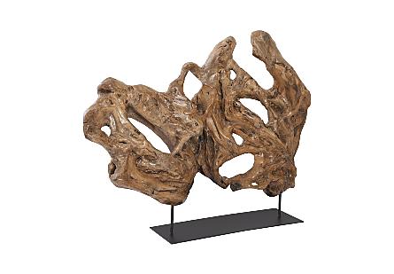 Wood Sculpture On Metal Base