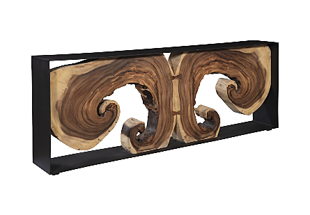 Chamcha Wood Console Table Natural, Iron Frame