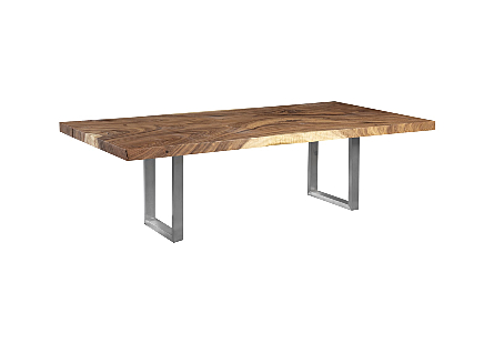 Origins Dining Table Straight Edge, Brushed Stainless Steel Legs, Natural