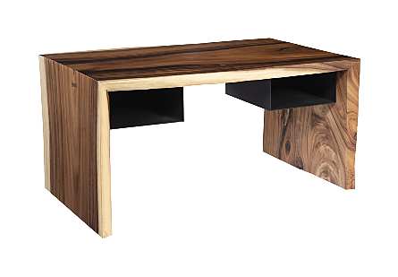Phillips Collection Waterfall Desk is a wood home-office desk made of reclaimed chamcha wood with sleek black shelves attached