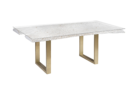 Chainsaw Dining Table with Glass Chamcha Wood, White/Gold, Gold Legs