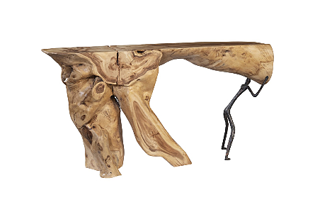 Atlas Console Table, Chamcha Wood/Metal, Natural