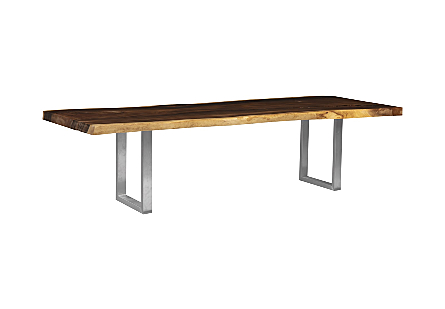 Origins Dining Table Live Edge, Natural, Brushed Stainless Steel Legs