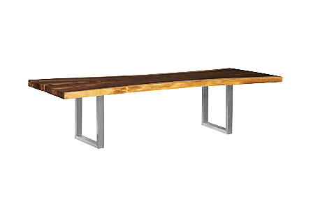 Origins Dining Table, Live Edge, Natural, Brushed Stainless Steel Legs