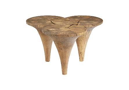front view of the Marley Natural Coffee Table by Phillips Collection which is made of golf-tee shapes that give it a scalloped top and telescoping legs