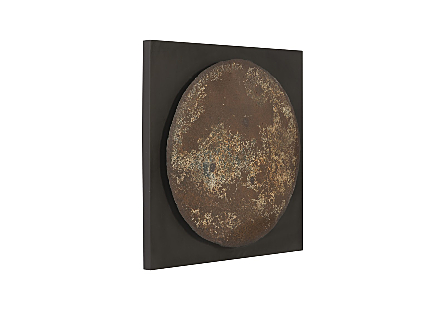 Reclaimed Oil Drum Wall Disc Mounted on Frame, Assorted Colors and Styles
