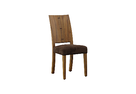 angled view of the Phillips Collection Origins Natural Dining Chair a contemporary dining chair made of reclaimed chamcha wood