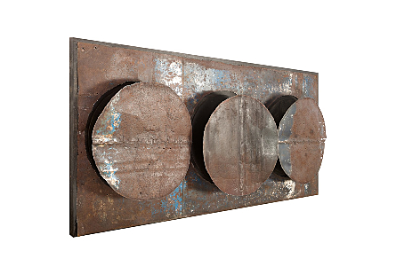 Mounted Reclaimed Oil Drum Wall Discs