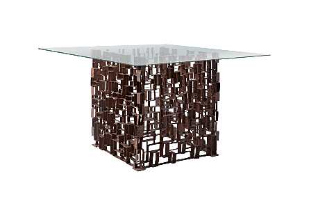 Grate Square Dining Table w/ Glass