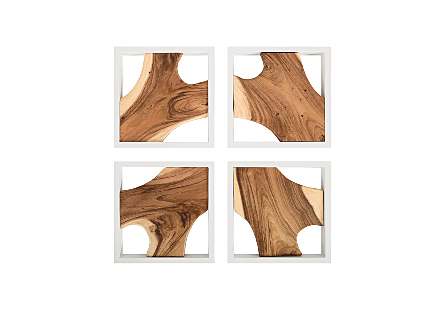 Framed Slice Wall Tile, Chamcha Wood, White Frame    Set of 4