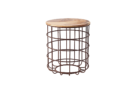 Cage Side Table Chamcha Wood, Iron Base, SM