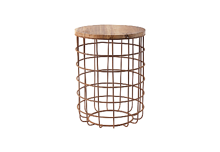 Cage Side Table Chamcha Wood, Iron Base, LG