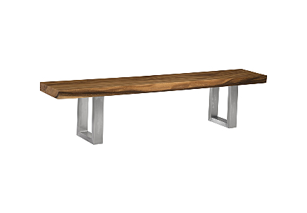 Chamcha Wood Bench Brushed Stainless Legs