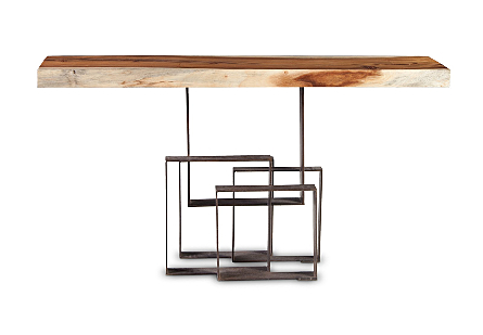 Score Console Table Chamcha Wood, Iron Base