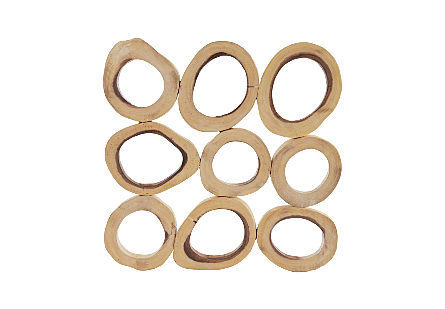 Chuleta Rings Wall Art Chamcha Wood, Square, SM