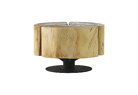 Clover Coffee Table Chamcha Wood, Natural Finish, Metal Base