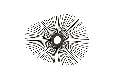 front view of the Phillips Collection Spoke Ovoid Mirror with a playful organic shape formed from thin wood sticks that have been charred black