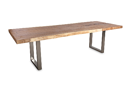 Chamcha Wood Dining Table Stainless Steel Legs
