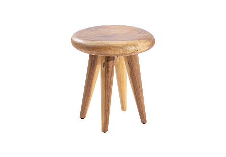 Smoothed Stool on Wooden Legs Chamcha Wood, Natural