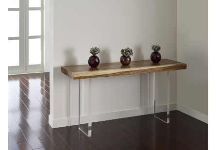 Floating Chamcha Wood Console Table Acrylic Legs