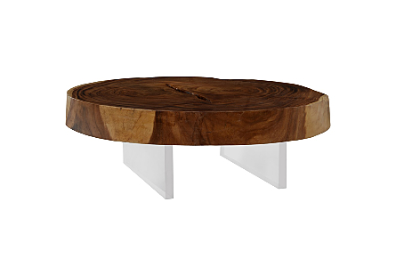 Chamcha Wood Floating Coffee Table Acrylic Legs