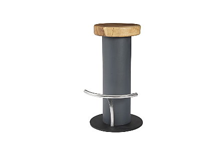 Concrete Bar Stool Chamcha Wood Top, Stainless Steel Footrest