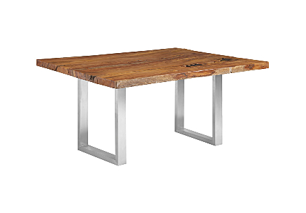 Origins Dining Table, Straight Edge Natural, Brushed Stainless Steel Legs