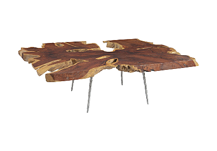 Burled Wood Coffee Table Forged Legs
