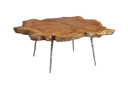 Khengpra Burled Wood Coffee Table Forged Legs