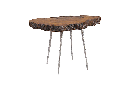 Mai Theng Burled Wood Side Table Forged Legs, Assorted