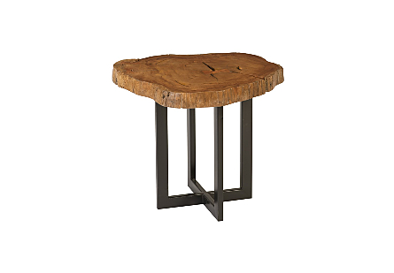 Mai Theng Burled Wood Side Table Metal Base