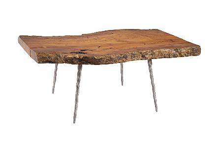 Khengpra Burled Wood Coffee Table Forged Legs