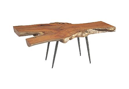 Pradoo Burled Wood Coffee Table Forged Legs