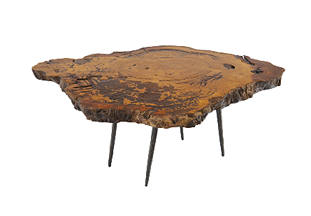Burled Wood Coffee Table Forged Metal Legs
