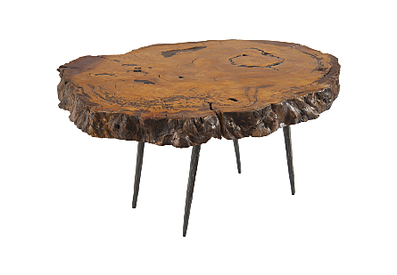 Burled Wood Coffee Table Forged Metal Legs