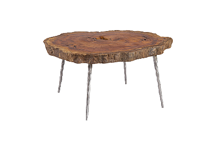 Burled Wood Coffee Table Forged Legs, Assorted