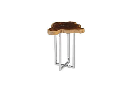 Burled Wood Side Table Stainless Steel Base