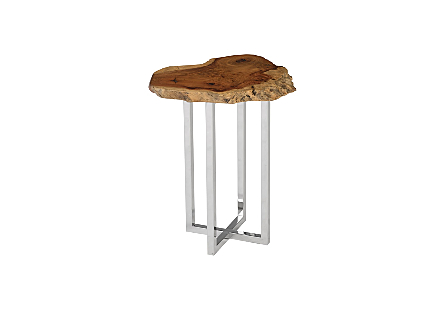 Burled Wood Slice Stainless Steel Base