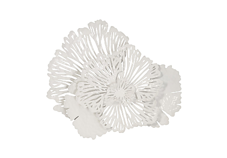 Flower Wall Art Small, White, Metal