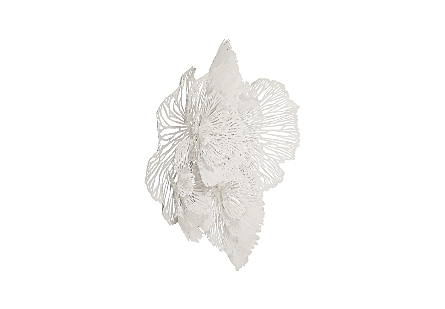 Flower Wall Art Large, White, Metal