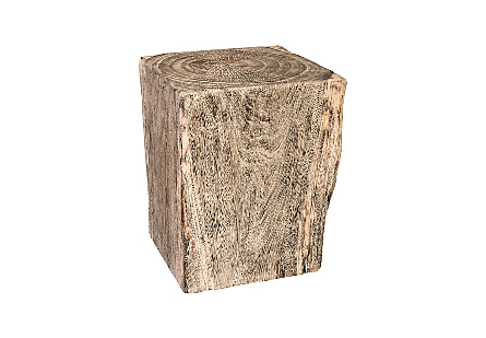 Gray Stone Side Table Chamcha Wood
