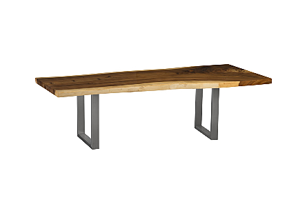 Live Edge Dining Table, Chamcha Wood Brushed Stainless Steel Legs