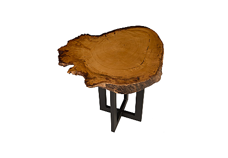 Burled Wood Side Table