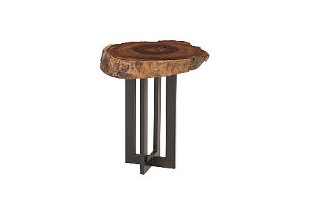 Mai Theng Burled Wood Side Table Metal Base