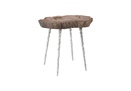 Burled Wood Side Table Forged Legs