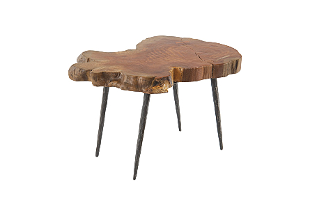 Burled Wood Side Table Forged Metal Legs