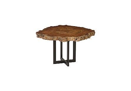 Burled Wood Side Table Metal Base