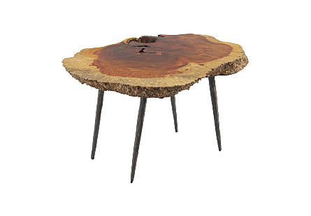 Burled Wood Side Table Forged Metal Legs